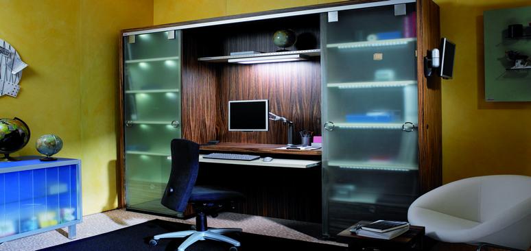 Wandelbare wohnwand ein zuhause f r das home office h fele - Wohnwand mit klappbett ...
