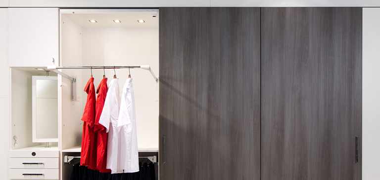 Always there: the clothes lift also makes high cabinets accessible