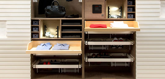 Good-looking and easy to see into: flat drawers made from wood.