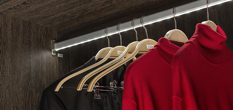 Illuminated wardrobe rails bring clarity into the colour selection.