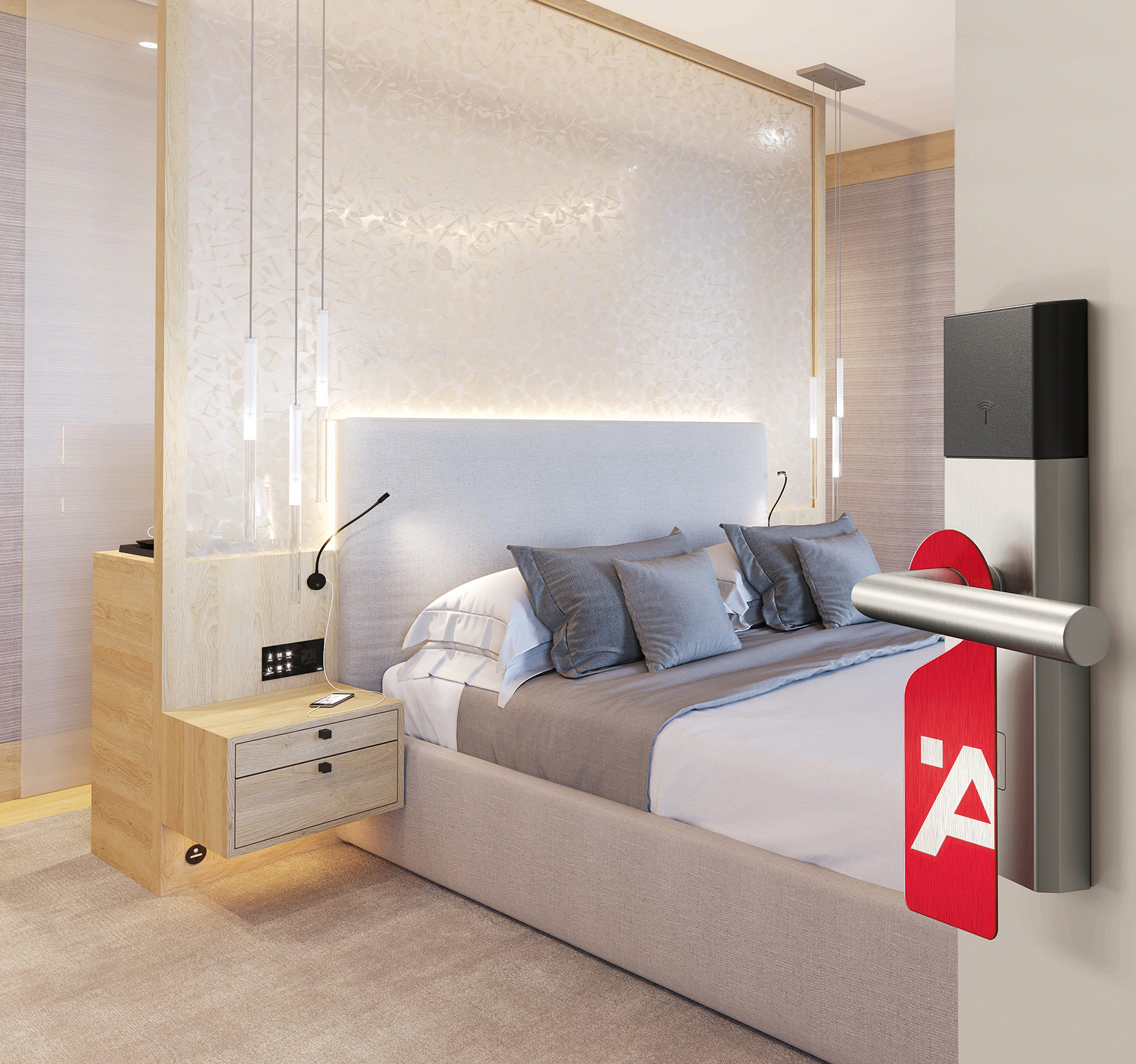 One Room, one Face – one Style. Häfele creates the optimal conditions for target group-oriented furnishing of hotel rooms with its comprehensive, internationally available hotel assortment, which contains more than 200 products.