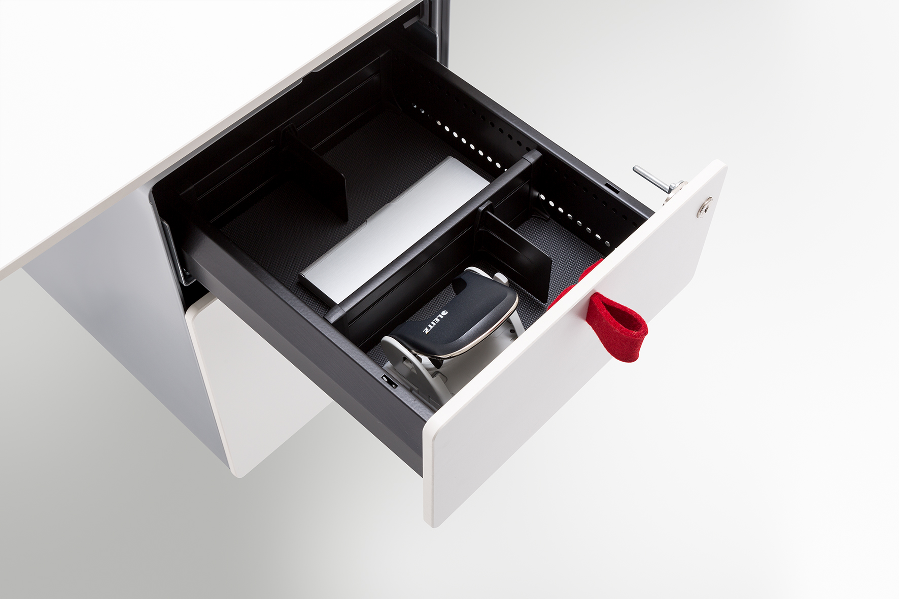 Drawer systems made easy, with original accessories for the Officys table base system from Häfele.