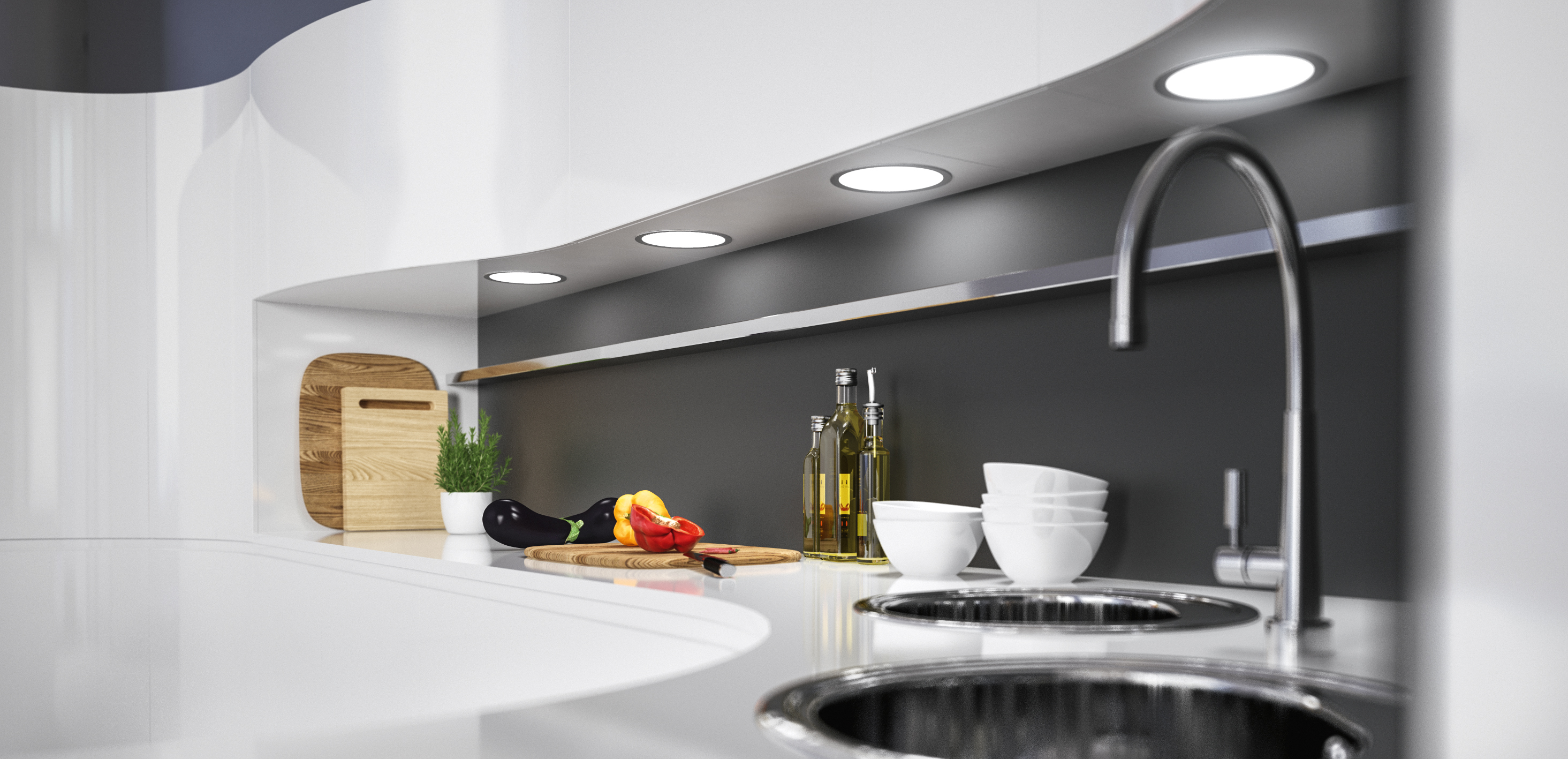 Simple elegance and homogeneous light output are the most important features of the Loox LED 3022 recess mounted light/surface mounted downlight. Its flat design makes creative application solutions possible.