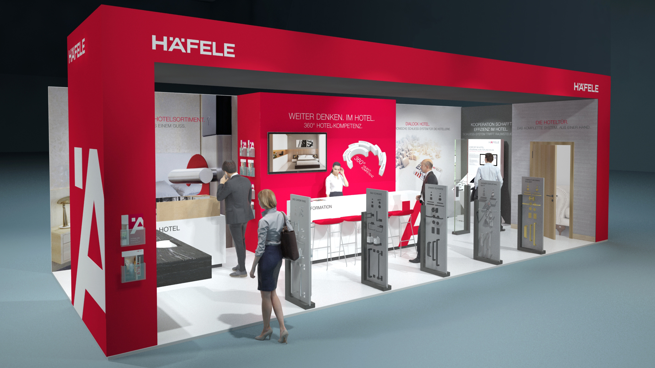 There are room designs for the hotel industry with designs and colour combinations which are bang up to date on the Häfele trade fair booth at the Intergastra in Stuttgart.