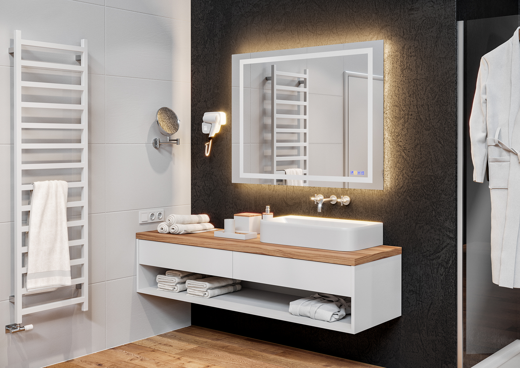 This bathroom mirror designed by Häfele is an absolute innovation. It contains different light scenarios, a sound system and a demister that effectively prevents the mirror from steaming up.
