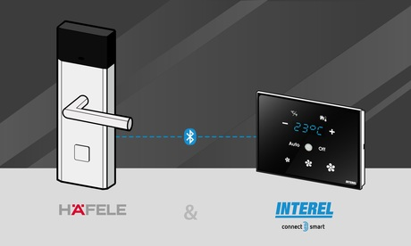 Perfect cooperation: Häfele Dialock access control system and Interel guestroom control system open up new cost-saving perspectives for the hotel industry. And they also improve the quality of the stay for the guest.