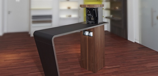 Standing bar with coffee machine and tableware compartment.
