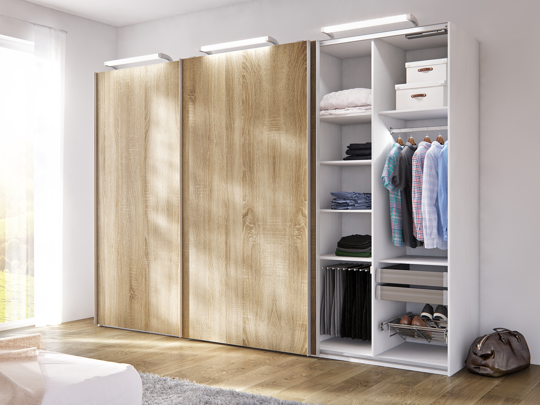 Three-door solution with the Slido Classic 35 VF S and cleverly used storage space in the cabinet.