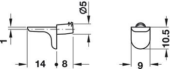 Bodenträger, für Holzböden, Zinkdruckguss, mit 2 Keilnasen, Tragkraft 12,5 kg pro Stück