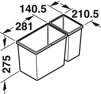 Doppel-Abfallsammler, 1 x 13,5 und 1 x 6 Liter