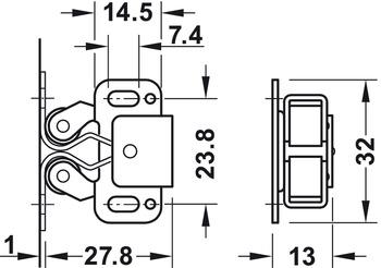 Doppel-Rollenschnäpper, zum Schrauben, Stahl