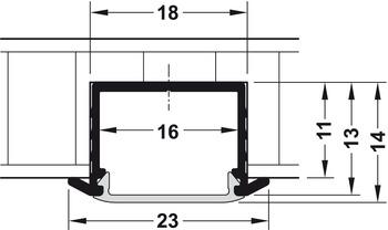 Einbauprofil Häfele Loox, 11 mm Tiefe, Aluminium