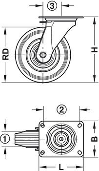 Geräte- und Apparaterolle, mit weicher Lauffläche, lenkbar mit Feststeller