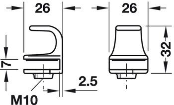 Glastürgriff, aus Zinkdruckguss