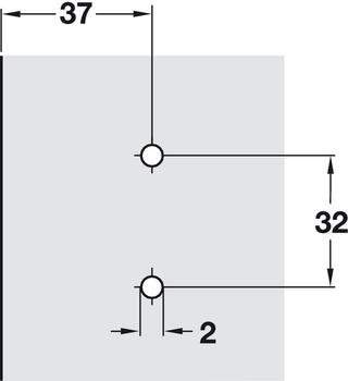 Kreuzmontageplatte, Häfele Duomatic SM, Zinkdruckguss, mit Spanplattenschrauben