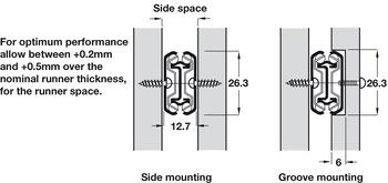 Kugelführung, Vollauszug, Accuride 2642, Tragkraft bis 45 kg, Stahl, seitliche Montage