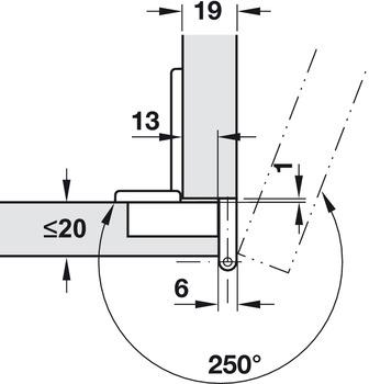 Objektscharnier, Häfele Aximat 100 A, für Eckanschlag, Fuge 6 mm