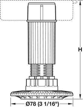 Rohr mit Einschraubgleiter, auch für Sockelsystem Häfele AXILO™ 78