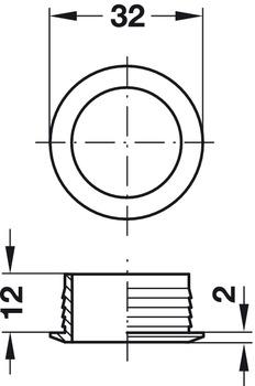 Rosette, für Push-Lock, für Plattendicke 19 mm