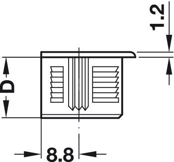 Verbindergehäuse, Häfele Rafix 20, ohne Zapfen, Kunststoff, mit Wulst