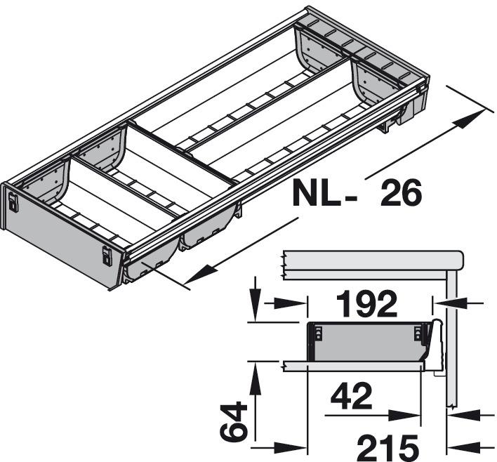 einteilungssystem blum orga line tandembox sonderausf hrung systemh he m zargenh he 83 mm. Black Bedroom Furniture Sets. Home Design Ideas