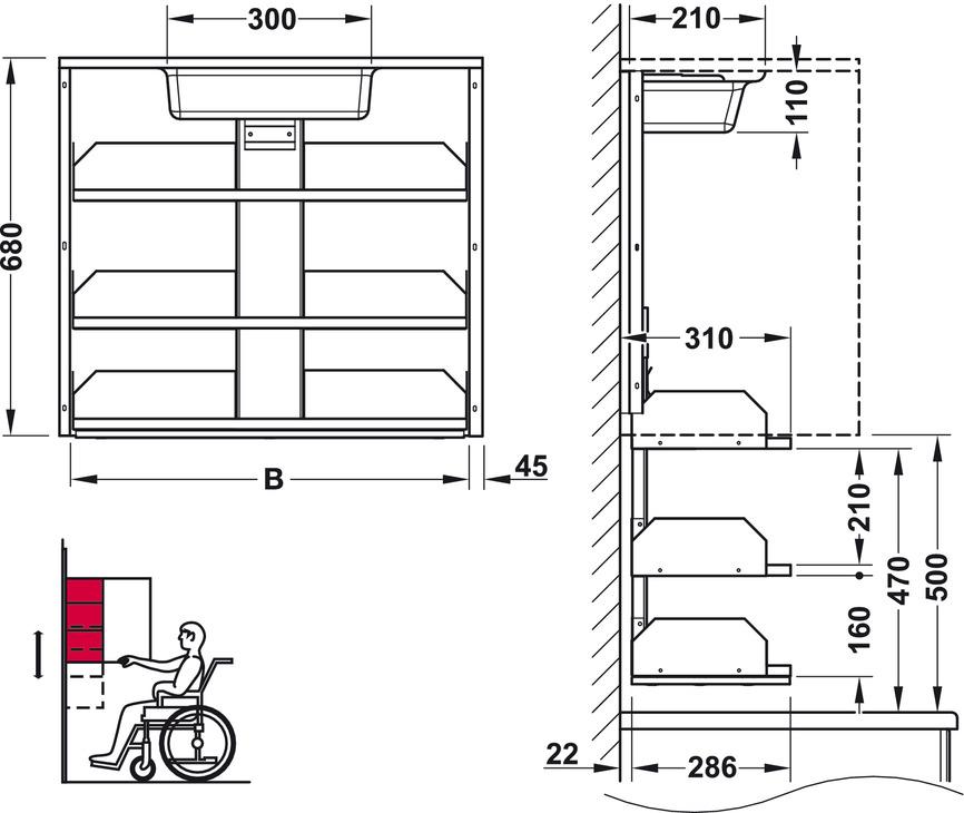 Innenschranklift, für Oberschränke mit einer Höhe ab 700 mm | online ...