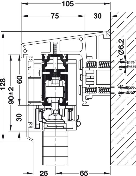 schiebeladenbeschlag hawa frontslide 60 matic garnitur. Black Bedroom Furniture Sets. Home Design Ideas