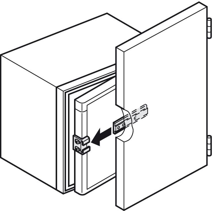 Schleppscharnier, für Einbaukühlschränke hinter Möbeltüren - im ... | {Einbaukühlschränke 32}