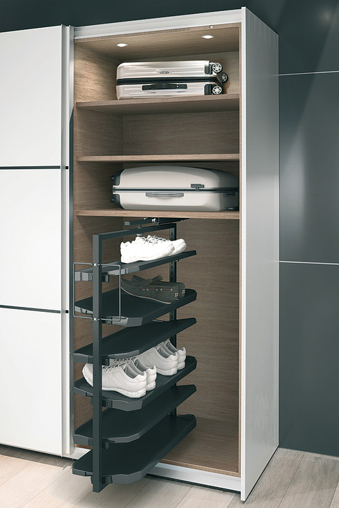 schuhschrankauszug 180 drehbar f r bis zu 20 oder 50 paar schuhe im h fele deutschland shop. Black Bedroom Furniture Sets. Home Design Ideas