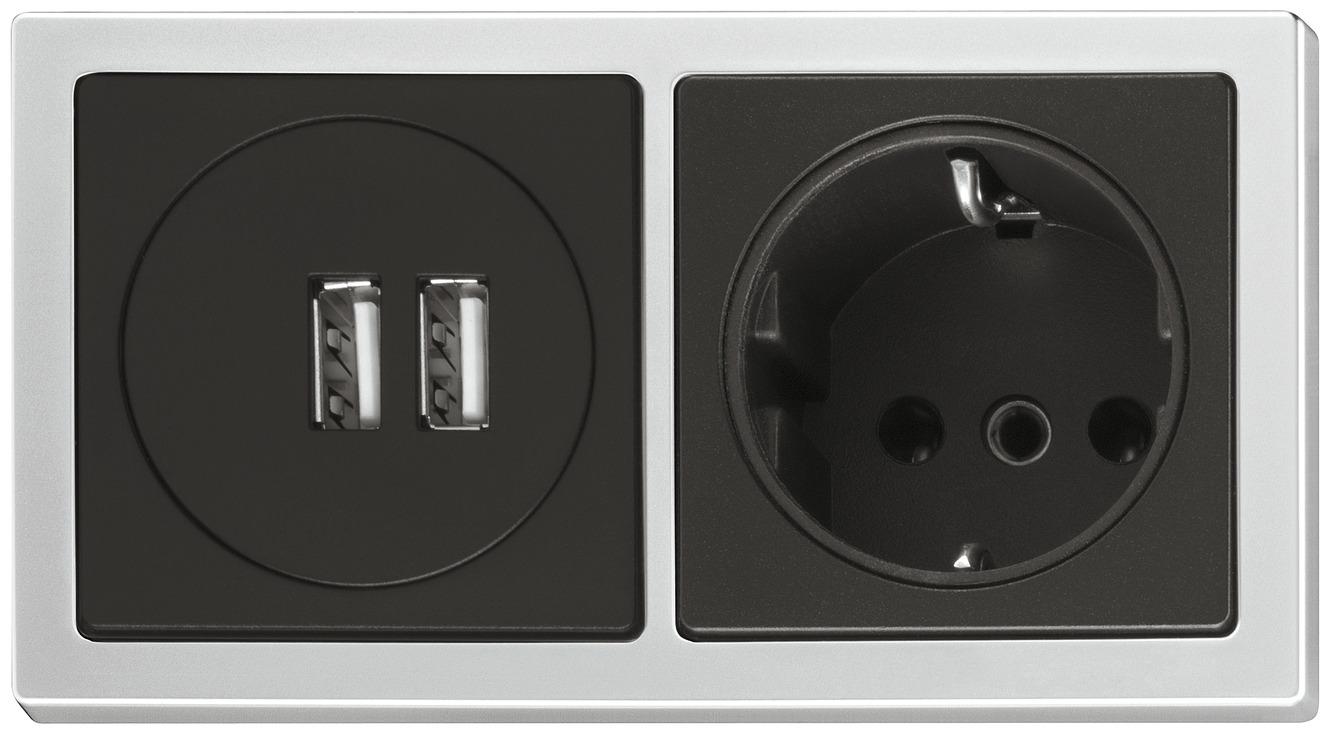 steckdose und usb ladestation einbau set mit stecker sv16 230 v im h fele deutschland shop. Black Bedroom Furniture Sets. Home Design Ideas