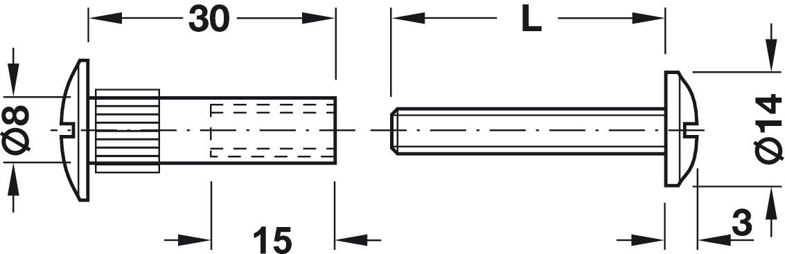 Verbindungsschraube Mit Gewinde M6 Kreuzschlitz Pz2 Und