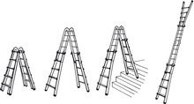 Telescopic ladder, Aluminium, 4x4 step, 4 usage options product photo