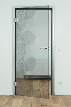 All-glass doors, Laser engraving on GDG grey glass, customised