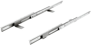 Ball bearing runners, for 2 or 3 folding extension leaves, asynchronous, for tables without frame