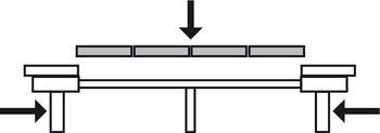 Ball bearing runners, for 4 extension leaves, asynchronous, for tables without frame