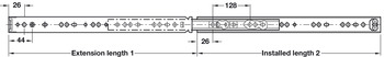 Ball bearing runners, full extension, Accuride 2642, load-bearing capacity up to 45 kg, steel, side mounting, groove mounted runners