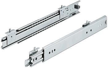 Ball bearing runners, full extension, load-bearing capacity up to 125 kg, steel, installation with pins