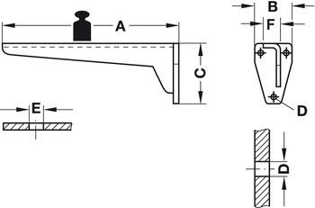 Bracket, Rigid, load-bearing capacity 150/500 kg per pair, Hebgo