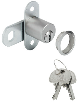 Cam lock, With pin tumbler cylinder, screw-on plate, door thickness ≤21 mm, customised standard profile