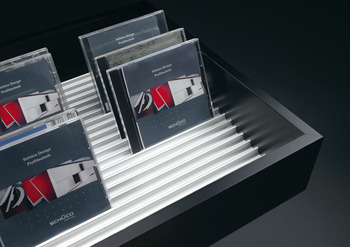 CD/DVD storage system, aluminium, silver coloured anodized