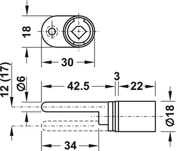 Central locking rotary cylinder lock, Symo, with mounting plate on one side