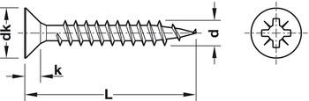 Chipboard screw, Hospa, stainless steel, countersunk head, PZ, fully threaded