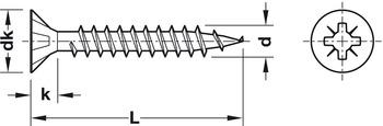 Chipboard screw, Spax, countersunk head, PZ, fully threaded