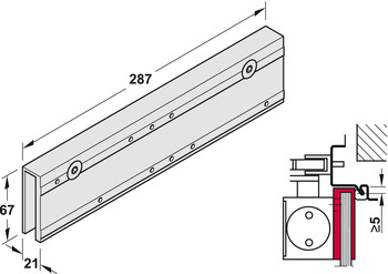 Clamping plate, for glass doors, for TS 4000 and TS 5000, overhead door closer, Geze
