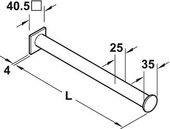 Clothes hanger rail, Single store fixture system, straight
