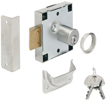Coin return spring bolt lock, With pin tumbler cylinder, standard profile, coin return lock