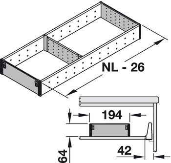 Compartment system sets, Blum Orga-Line, Tandembox, for drawers system height M, drawer side height 83 mm