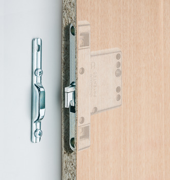 Concealed cabinet hanger, Width: 12 mm, load bearing capacity: 120 kg/pair