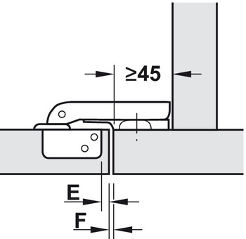 Concealed hinge, Häfele Metalla Mini A 95°, for face frame mounting, for wood