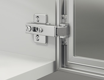 Concealed hinge, Häfele Metallamat A, half overlay/twin mounting, opening angle 110°
